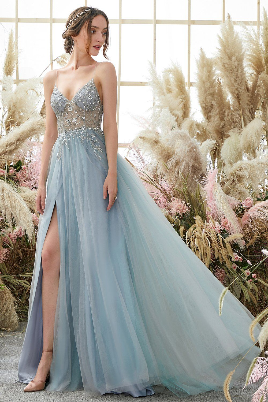 Light Blue Beading Tulle Prom Dress - US12