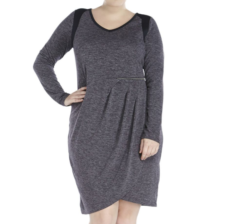 trendy dkny womenus gray black long sleeve faux wrap dress