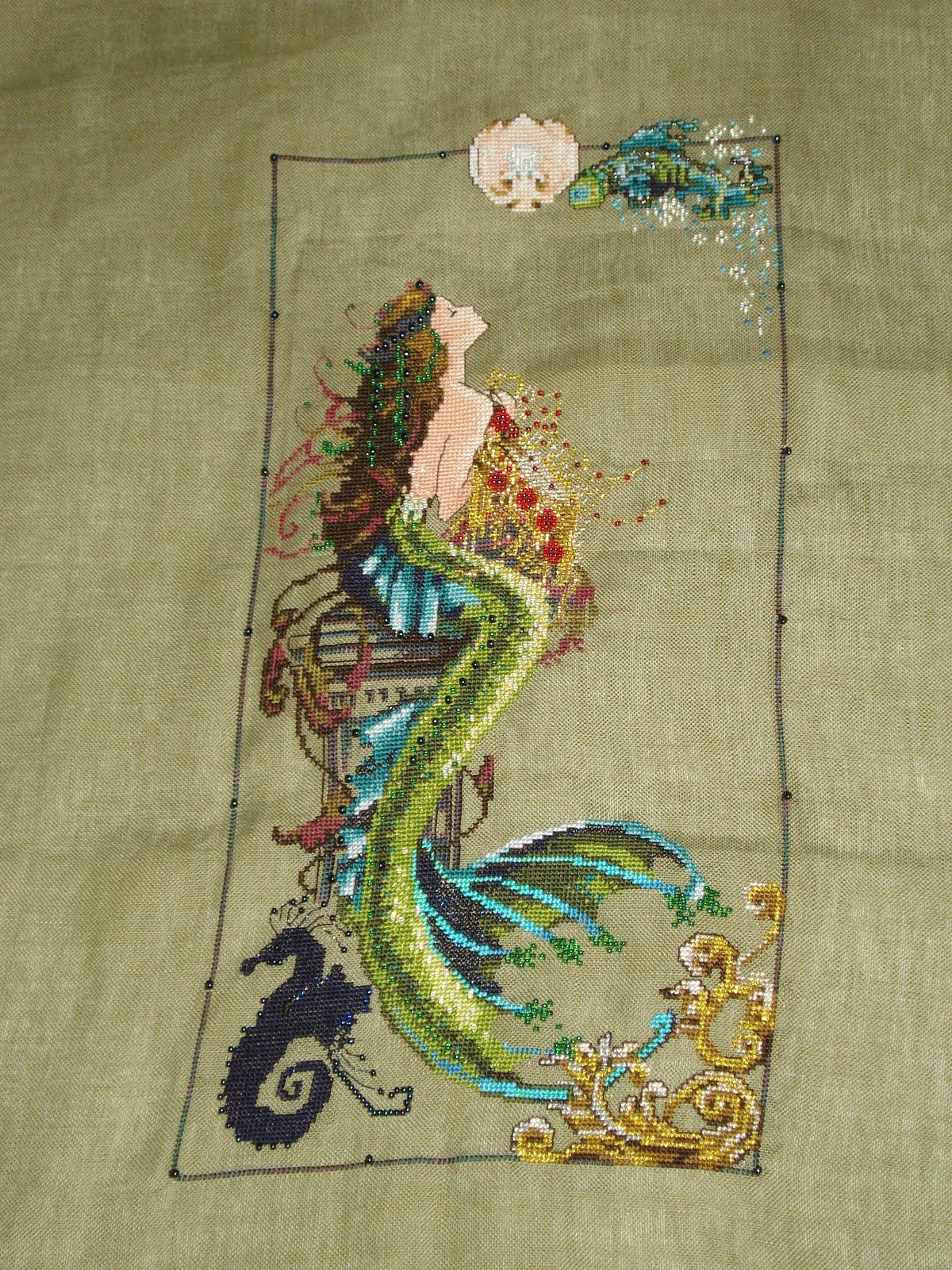 Mermaid embroidery cross stitch arts and crafts for Mermaid arts and crafts