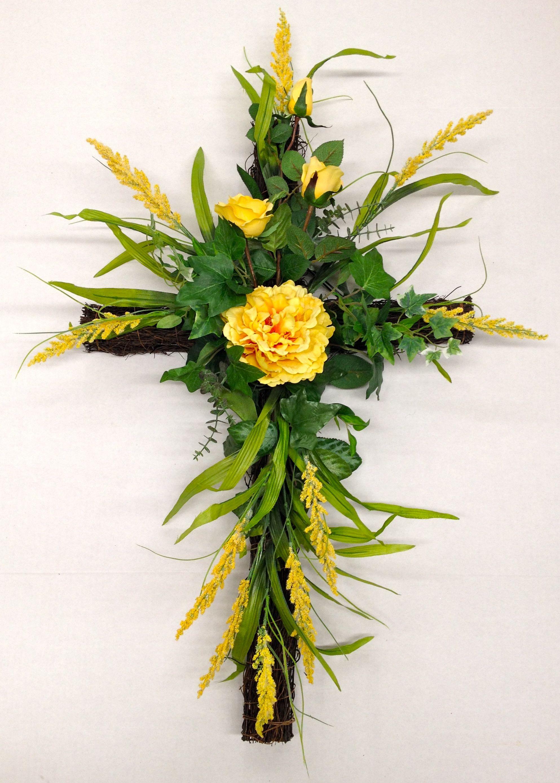 Spring 2014 Season Memorial Grape Vine Cross With Yellow Long Stem Roses Peony And Wild Powder Funeral Flowers Diy Funeral Flower Arrangements Easter Flowers