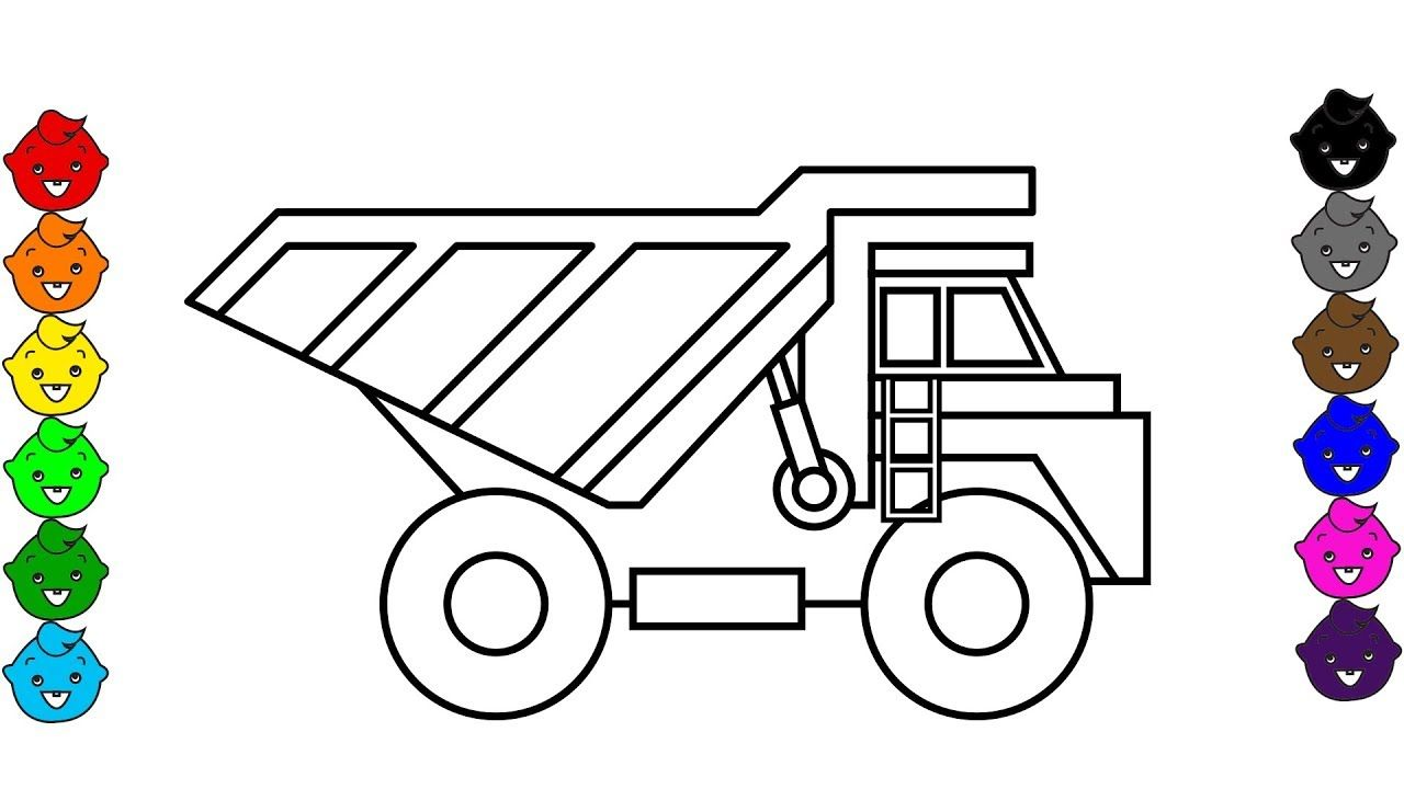 Learn colors with super dump truck coloring book video colouring