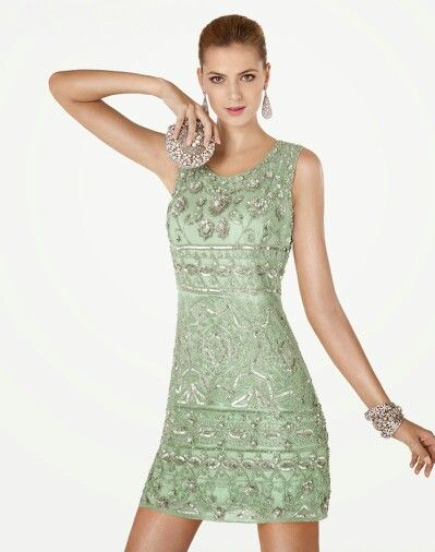 Vestidos de noche verde pistache