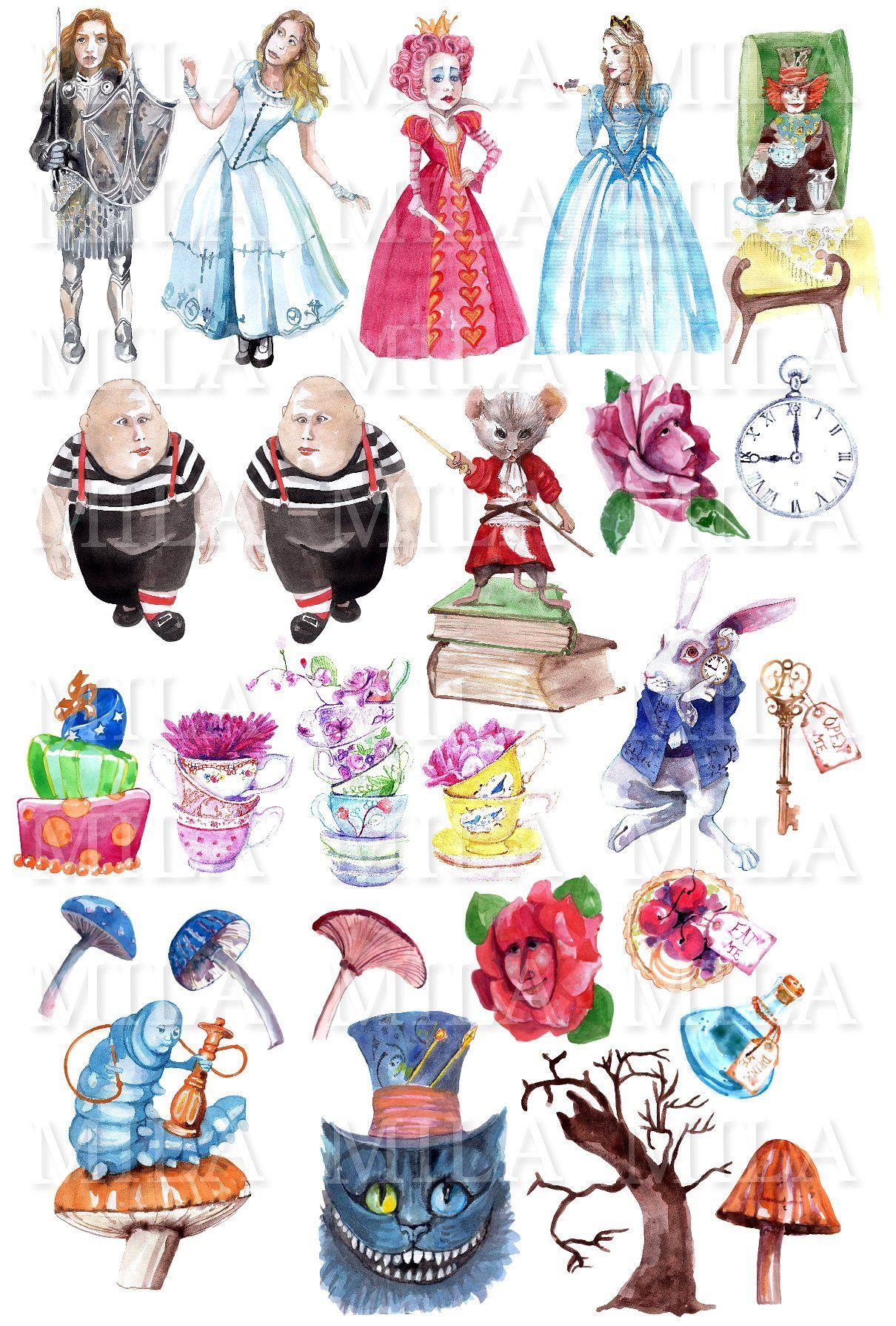 Alice In Wonderland Watercolor Set Alice And Wonderland Tattoos