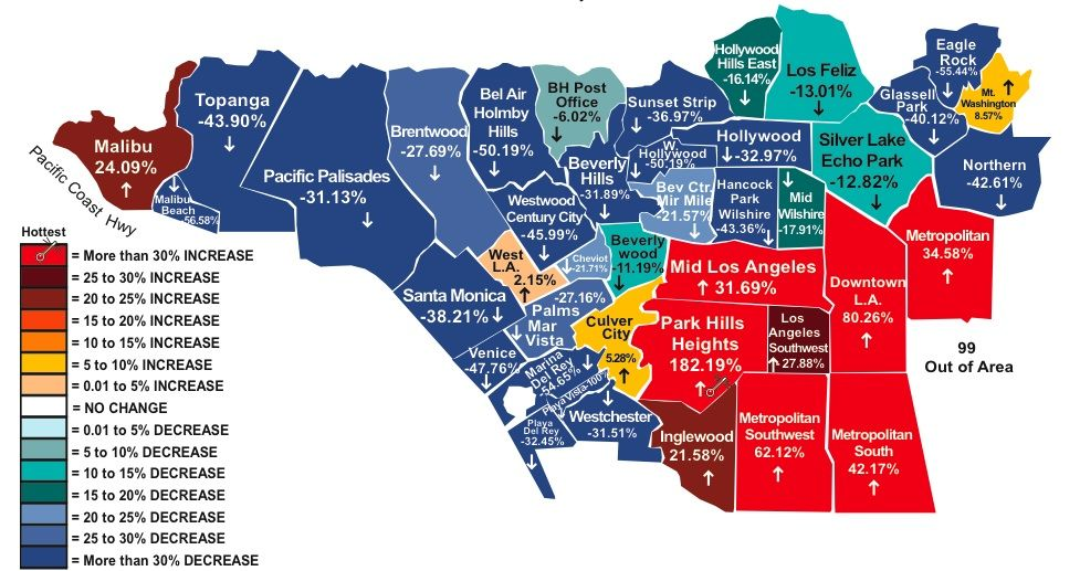 Housing Market In Los Angeles Sense On Cents Los Angeles Neighborhoods Las Vegas Map Los Angeles Map