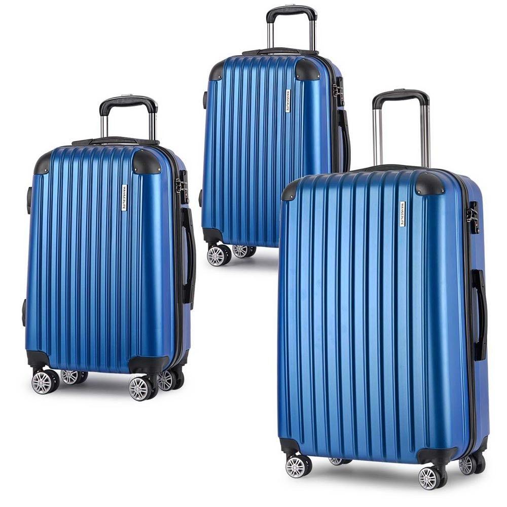 9f10eda89 3pc Wanderlite Hard Case Luggage Set w/ Spinner Wheels Lightweight Blue