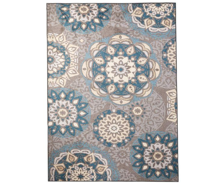 Living Colors Austin Blue Gray Medallion Area Rug 7 X 10 Big Lots Blue Medallion Area Rugs Blue Grey Living Room