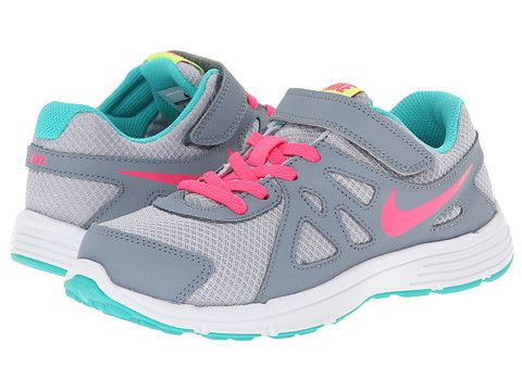 Nike Kids Revolution 2 Little Kid Wolf Grey Magnet Grey Hyper Jade Hyper  Pink Nike