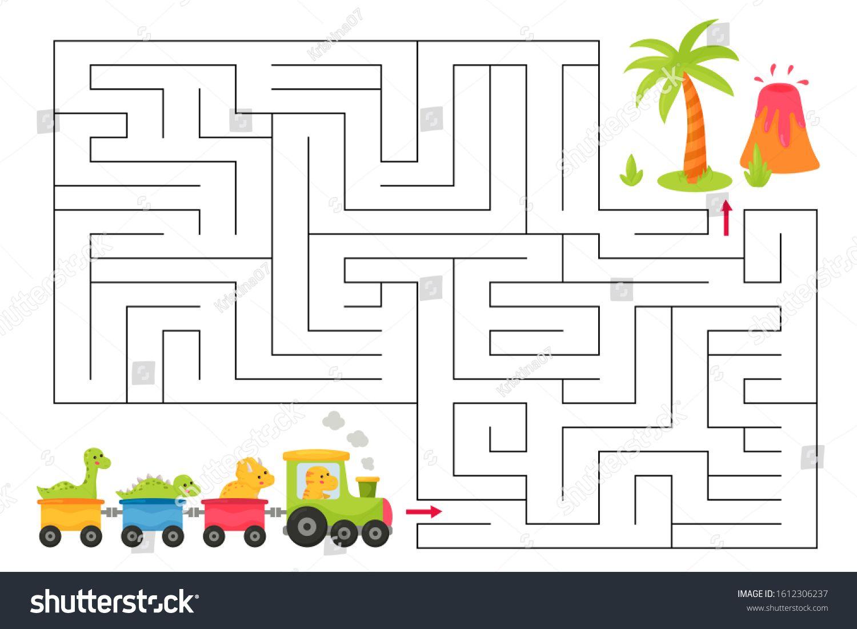 Maze Game For Children Cute Kawaii Cartoon Dinosaurs On