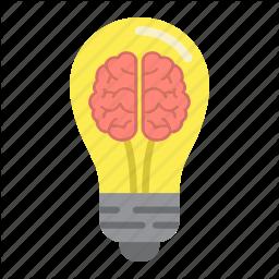 Business Light Idea Creative Brain Lamp Bulb Icon Light Icon Typographic Logo Design Brain Icon