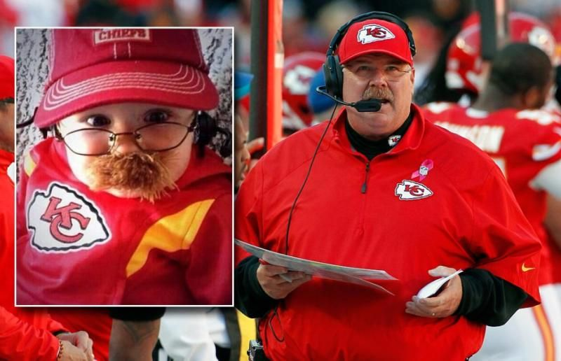 Pleasing Kansas City Chiefs Head Coach Andy Reid And Cute Baby As Bralicious Painted Fabric Chair Ideas Braliciousco