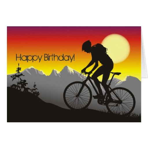 happy birthday bicycle Silhouette Mountain Bike Happy Birthday Card | Birthday Wishes  happy birthday bicycle