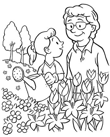 An Illustration Of A Grandmother And Her Granddaughter Watering Flowers With A Watering Can In 2020 Coloring Pages Family Coloring Pages Bible Coloring Pages