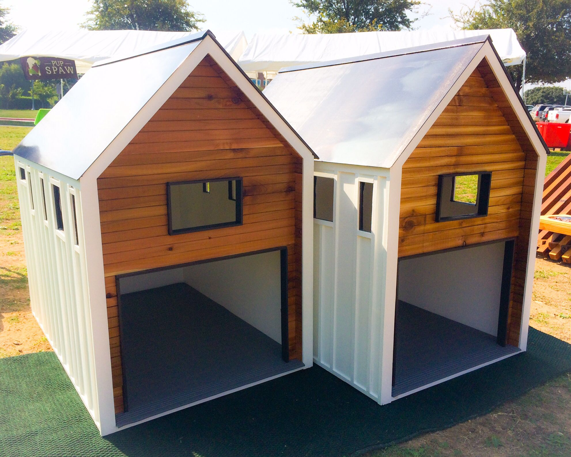 Custom Made Mini Dog House Replicas Of Our Spec Duplex In Austin Tx Dog Houses Dog House Custom Homes