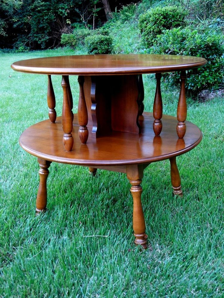 HEYWOOD WAKEFIELD SIDE TABLE MAPLE ROUND LARGE TWO TIER END