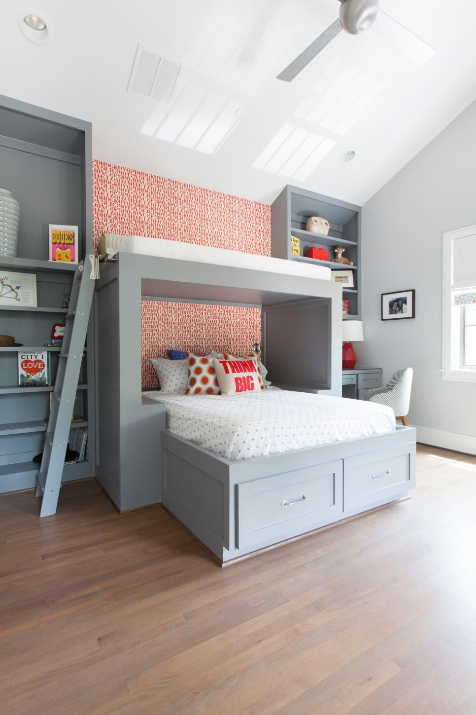 . This designer boys  bedroom is the perfect place for boys to create