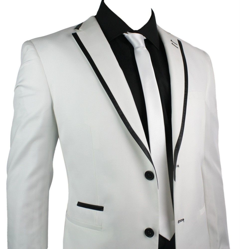 Mens Suit White Black Trim Blazer & Trouser Smart Casual Wedding Party ...