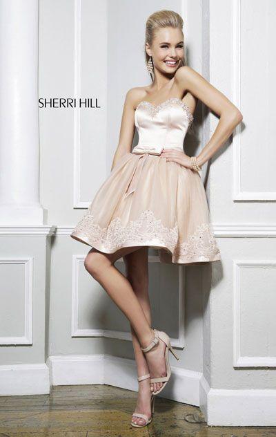 2014 Nude Tulle Sherri Hill 21238 Open Back Short A-Line Prom Dress