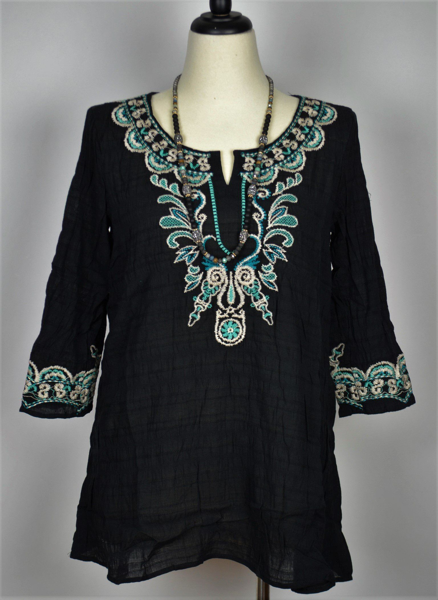 4dc7eed13ec Monoreno Embroidered Tunic Top-Black Turquoise | Products | Tunic ...