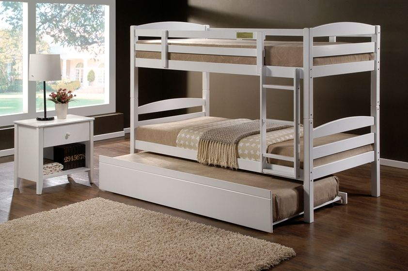 cosmos white king single bunk beds u0026 single trundle bed std sgl mattress 12 month warranty buy direct from the importer and save big 3 month layby available