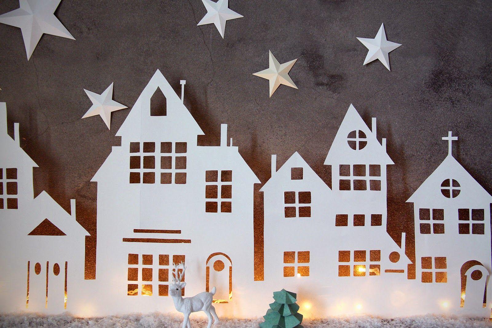 Aux petites merveilles diy village lumineux de no l for Decoration fenetre noel blanc