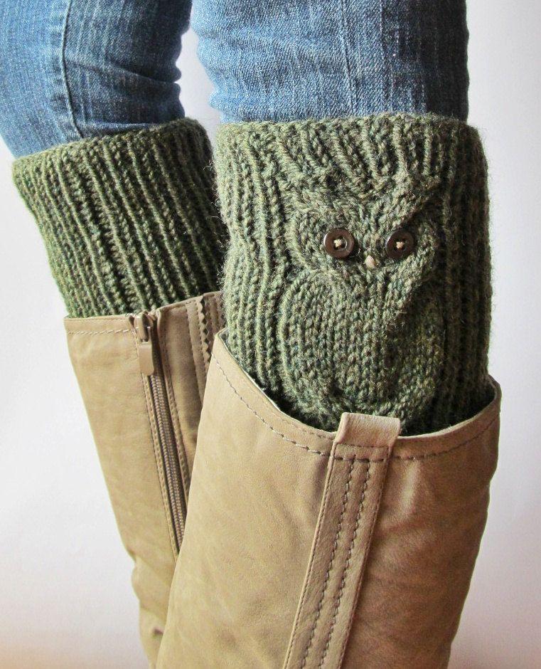 Owls Green Wool Hand Knitted Boot Cuffs Leg Warmers