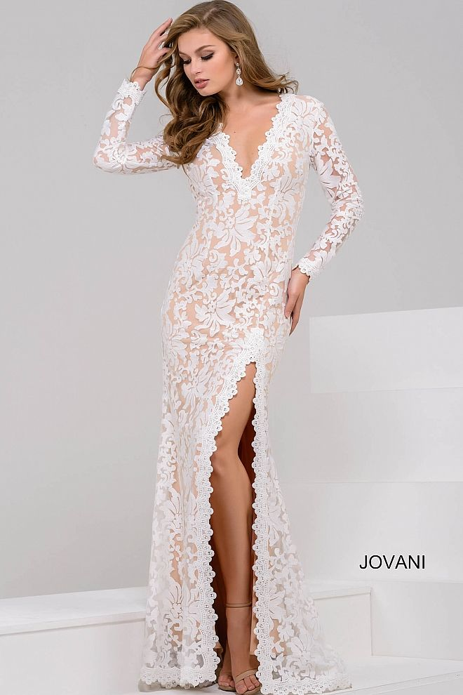 Beautiful floor length form fitting white lace dress with nude lining  features long sleeve bodice with plunging v neckline and open back and a  high slit. 047660db3f93