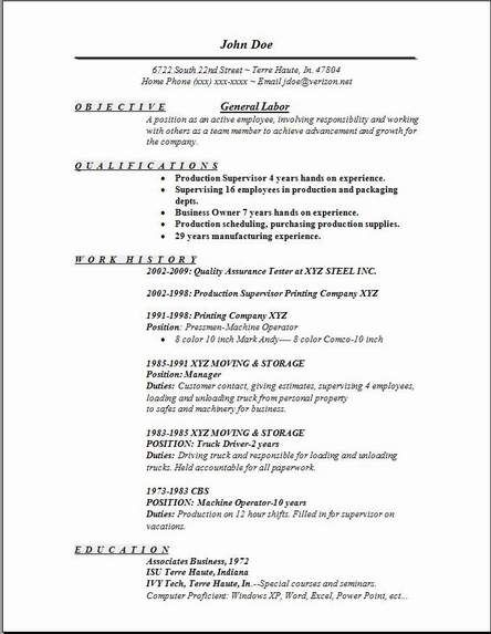 General Labor Resume Examples Samples Free Edit With Word With