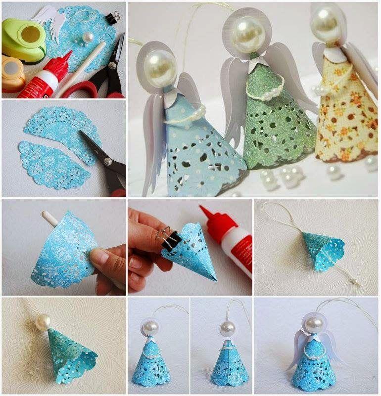 How to make paper doily Christmas angels | Делаем с детьми ...