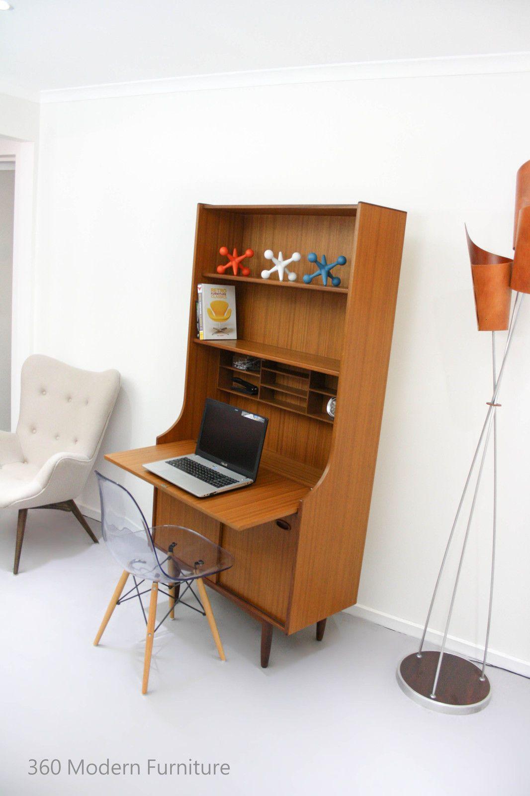 Mid Century Teak Vintage Retro Desk Study Hall Table Console