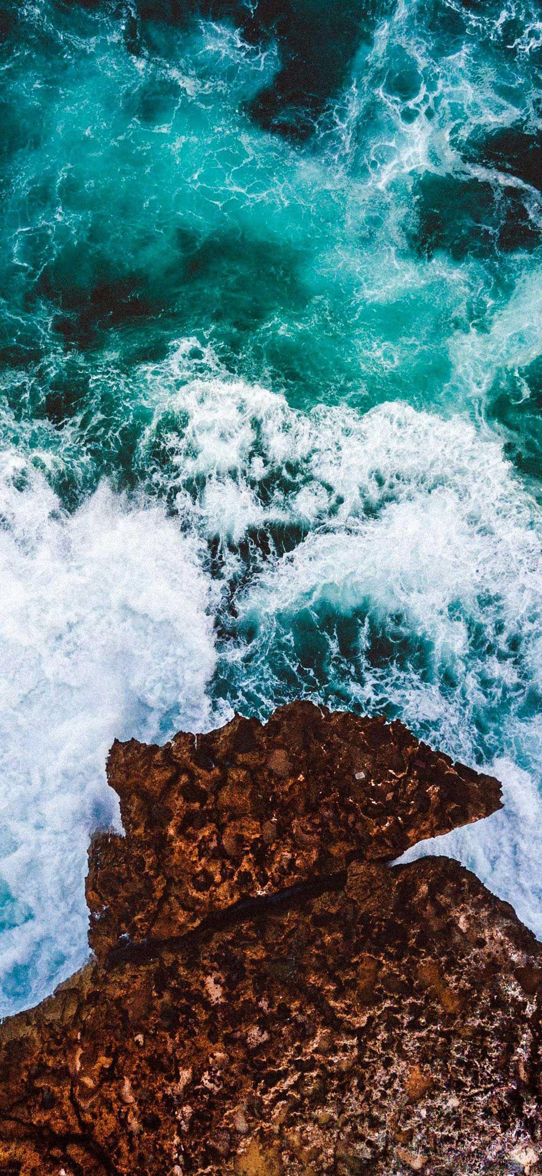 Iphone X Wallpaper Cliff Waves Sea Ocean Coast Aerial View K Hd