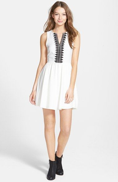 Free shipping and returns on EVERLY Embroidered Skater Dress (Juniors) at  Nordstrom.com. Inky embroidery traces the split neckline of a cute  sleeveless ... 30523cfc5