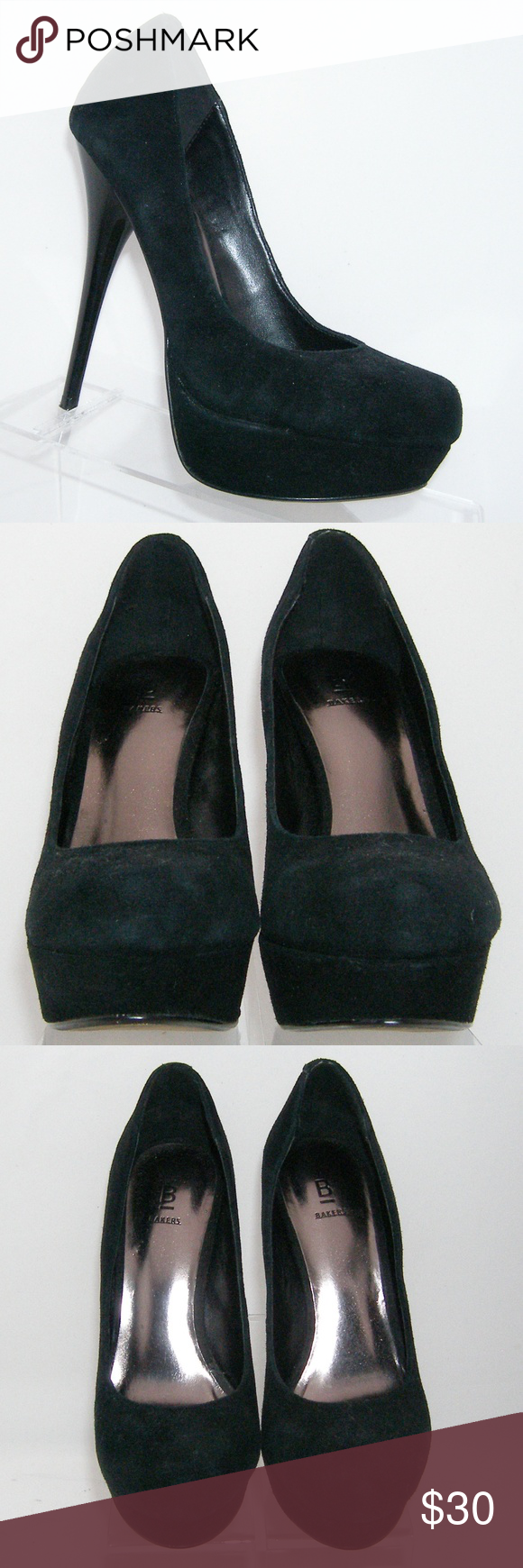 5e94499b70 Bakers Victoria black suede round toe heels 7M These Bakers shoes features  a suede upper