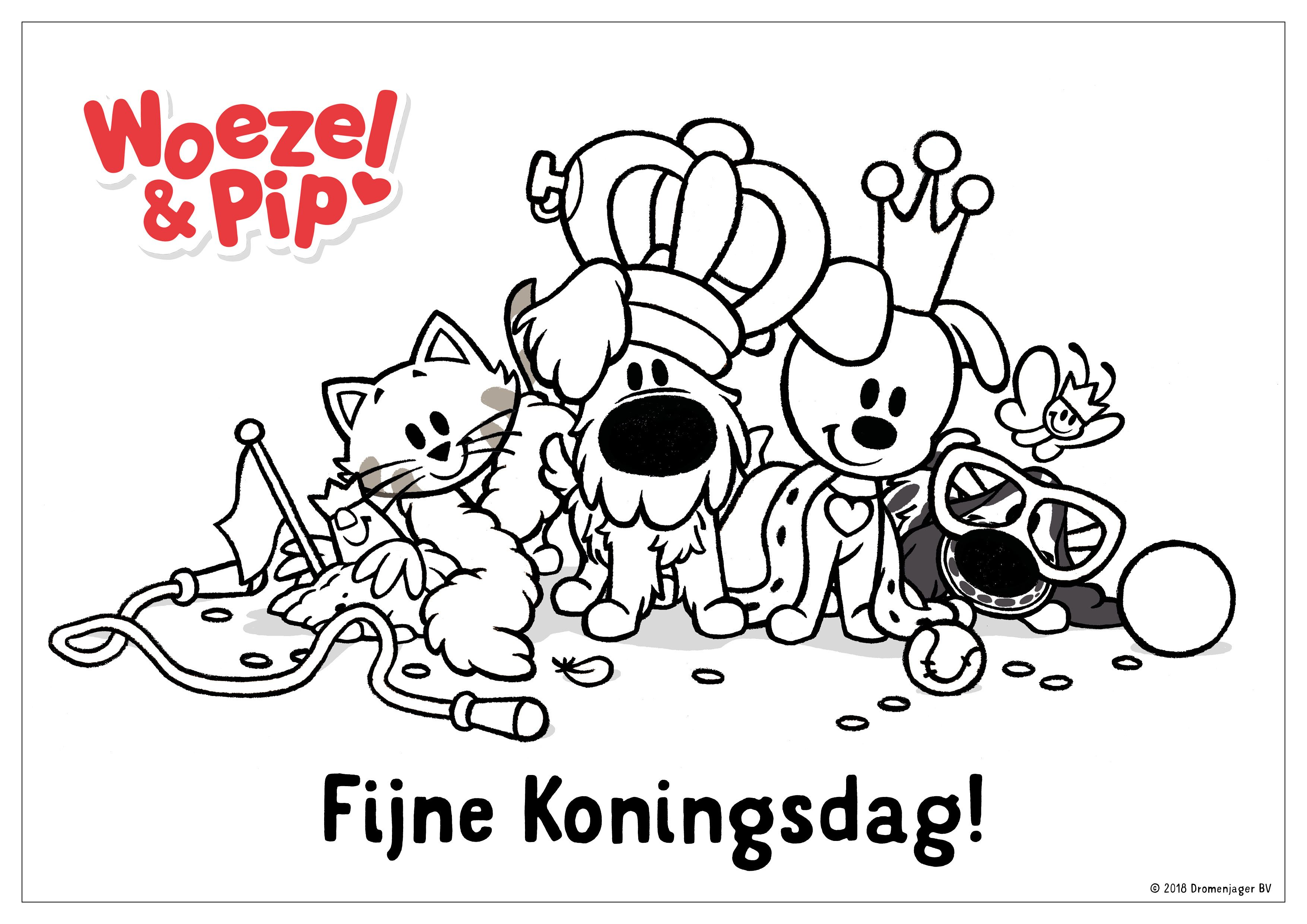 Woezel Pip Kleurplaat Koningsdag Woezel Pip Knutselen En