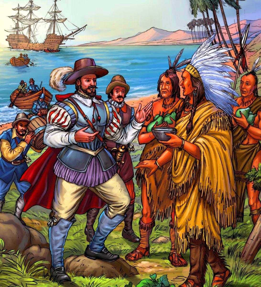 Spanish Conquistador Juan Ponce De Leon Meeting Native American Indians In Florida