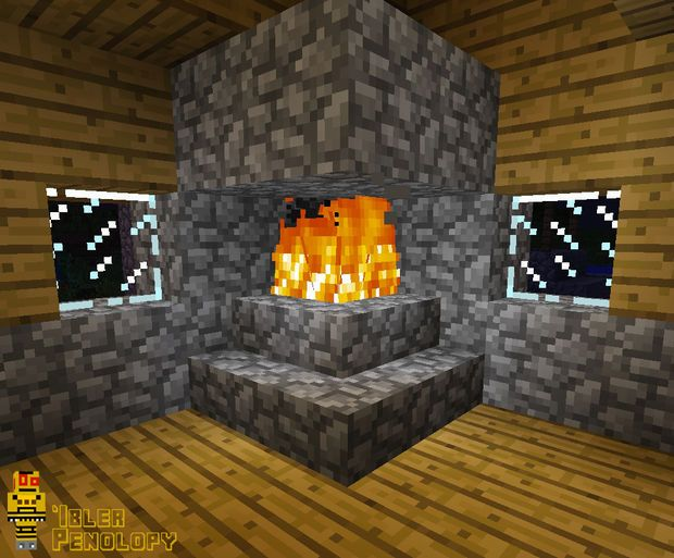 How To Make A Fireplace That Won T Burn Your House Down In Minecraft Minecraft Decorations Minecraft Designs Minecraft Houses