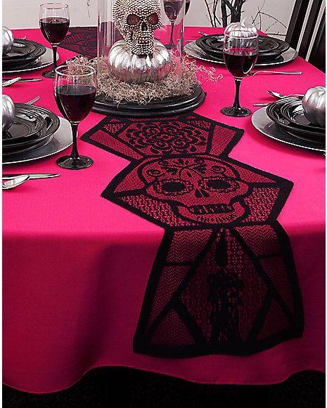Sugar Skull Table Runner Decorations Spirithalloween Com