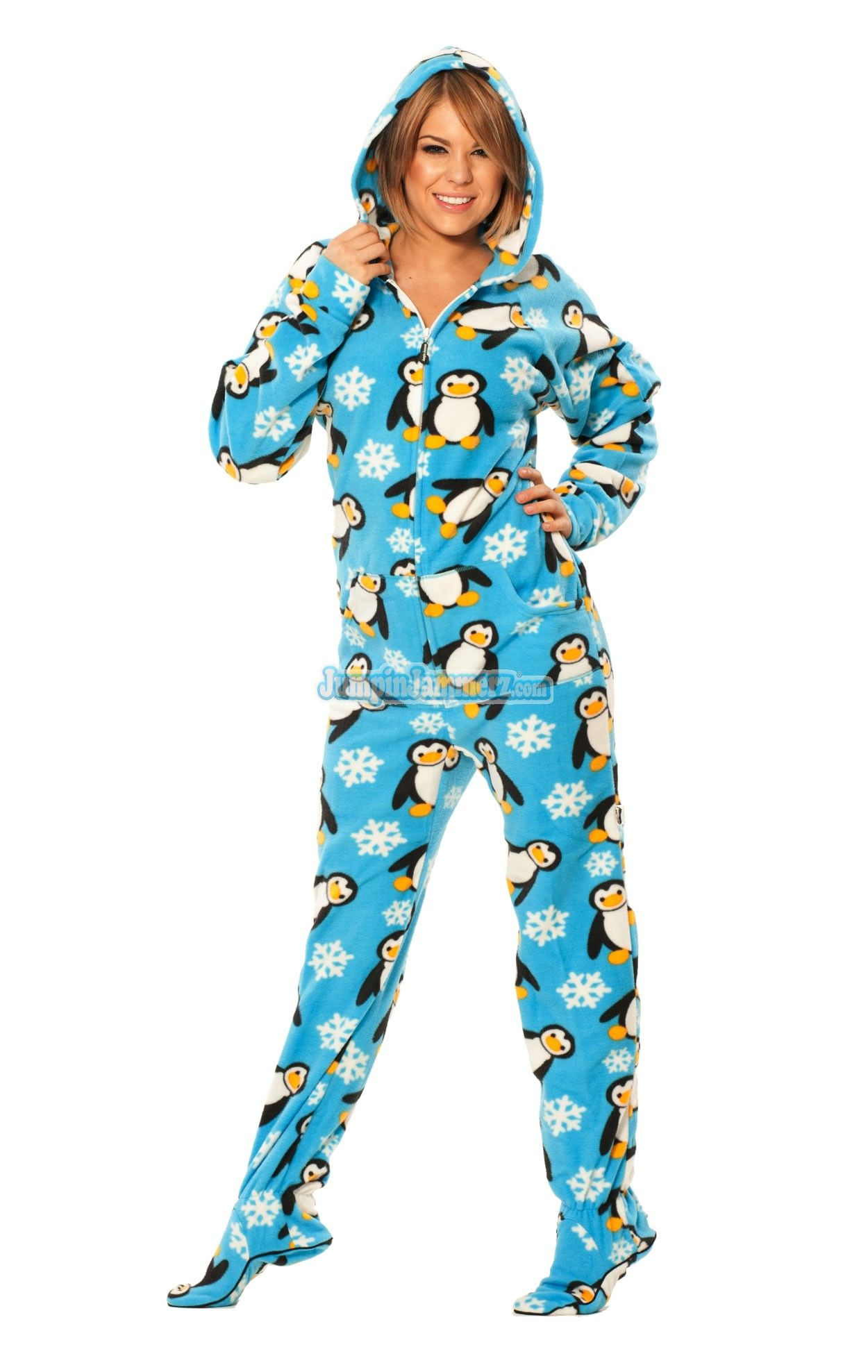 Blue penguins hooded adult pajamas these entertaining one piece pj s feature thumb holes front