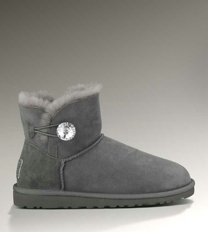 Womens Boots UGG Bailey Button Bling Grey