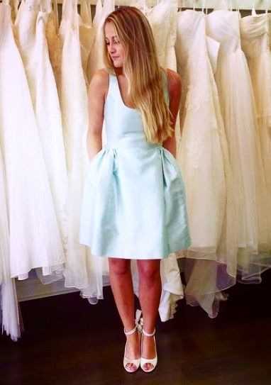 Short N Sweet Party Dress In Mint Color Silk Cotton Fabric Hidden Pockets Chloe Reese