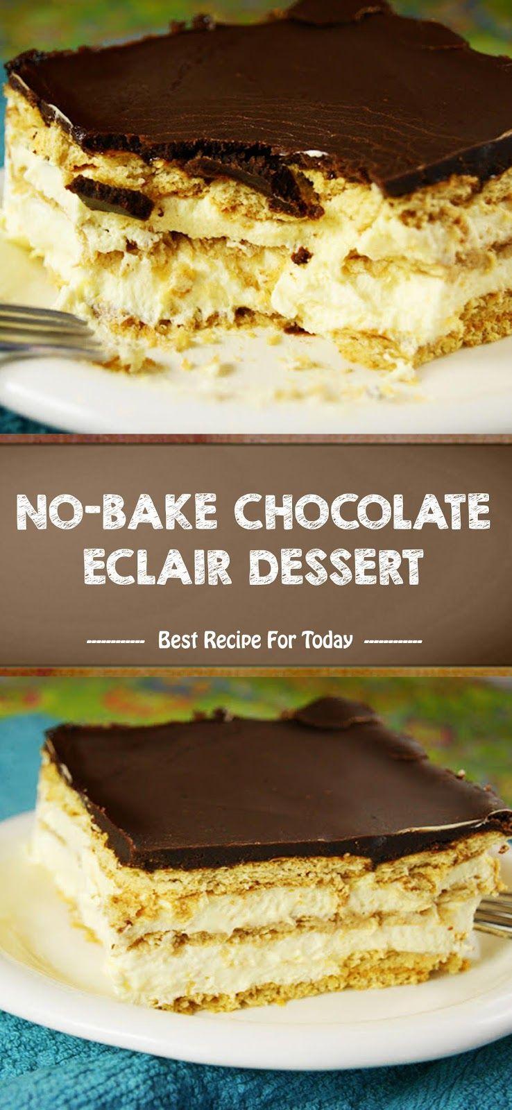 No Bake Chocolate Eclair Dessert Hidangan Penutup Memanggang Kue Resep Makanan Penutup