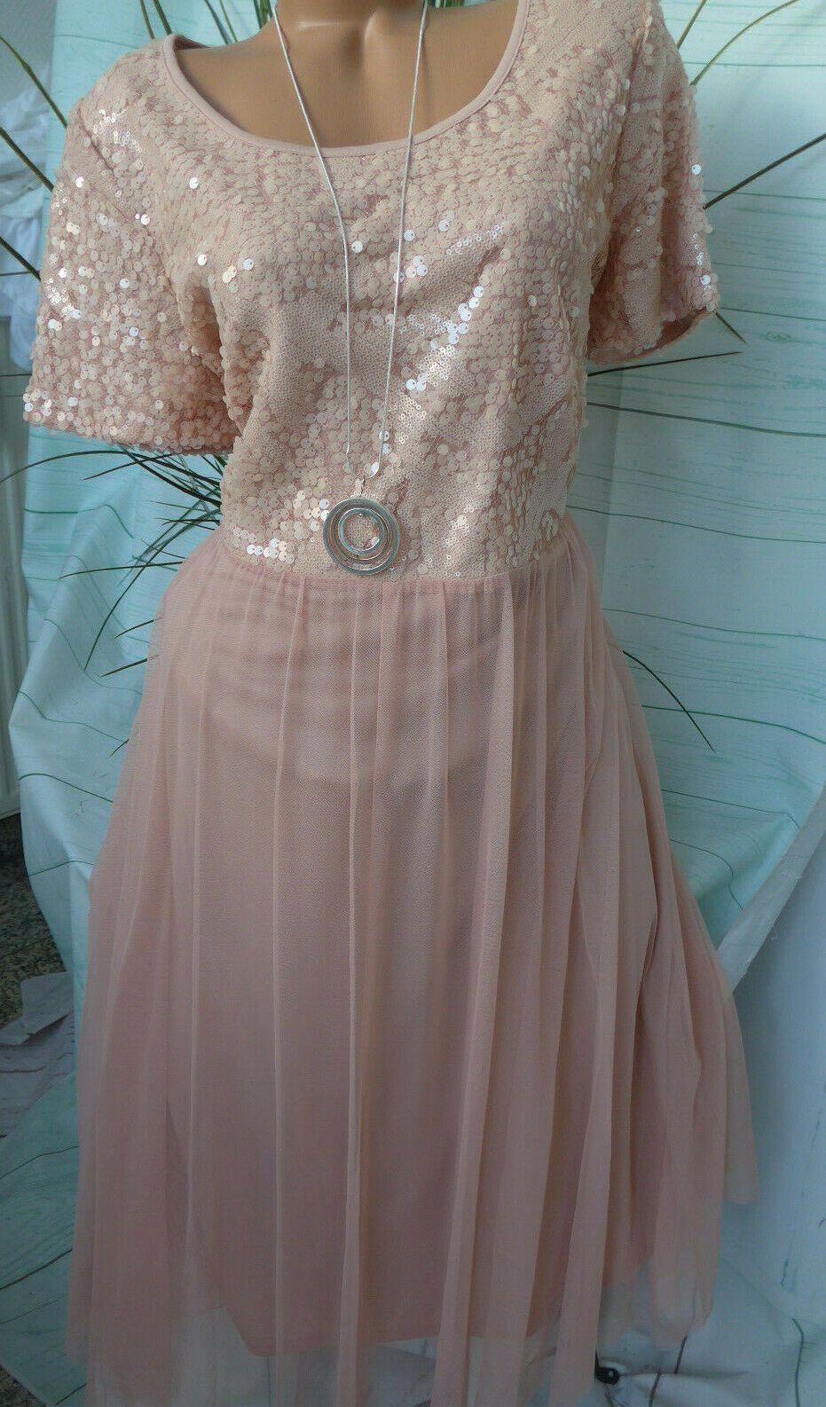 Sheego Eventkleid Abendkleid Kleid Gr. 16 bis 16 Rose mit
