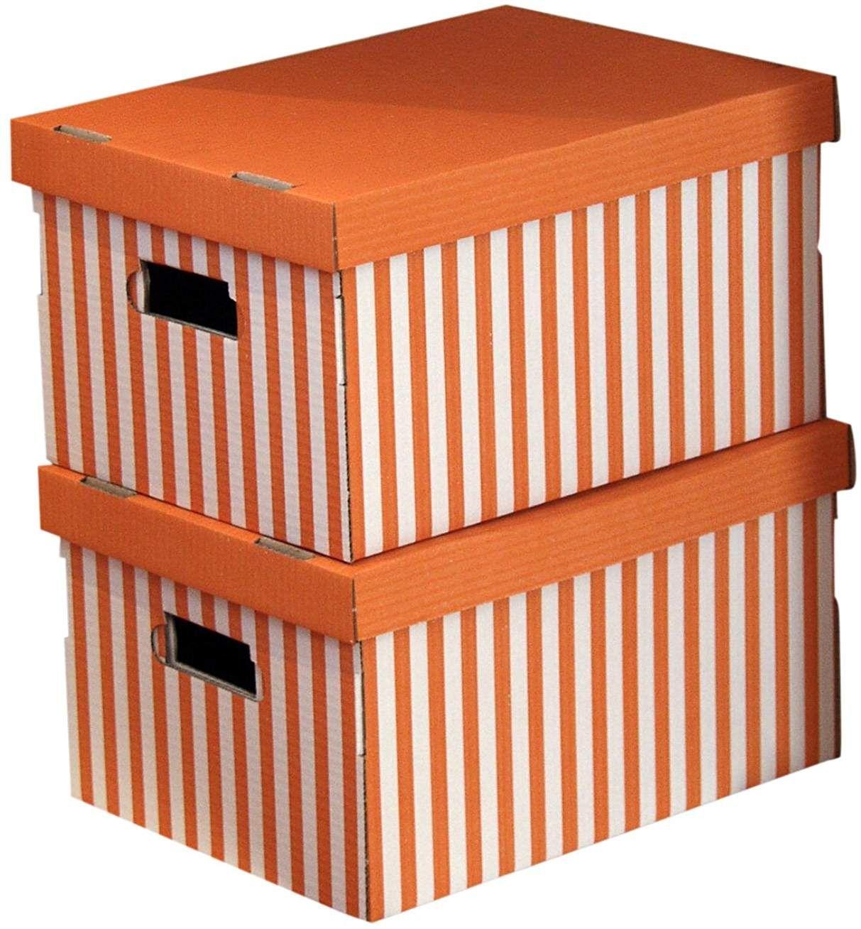Compactor Lot De 2 Boites De Rangement En Carton Ondule Avec Poignees Empilables Orange 40 X Boite De Rangement Carton Rangement Carton Boite De Rangement