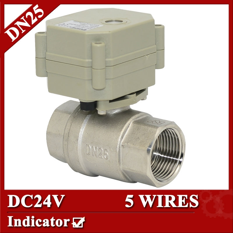 """38.34$  Buy here - http://alieog.shopchina.info/go.php?t=1873196185 - """"1"""""""" DC24V electric valve 5 wires, DN25 2 way motorized valve SS304, electric ball valve with signal feedback""""  #buymethat"""