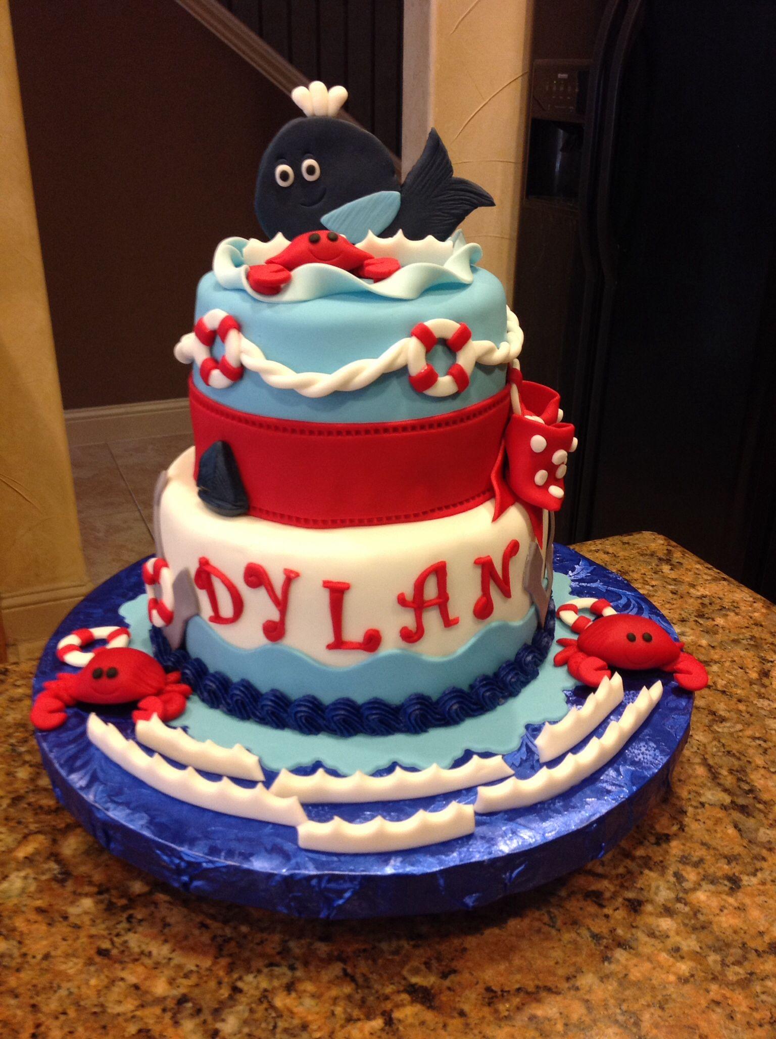 Baby Shower Cake, Whale Theme, Nautical, Baby Boy Cake