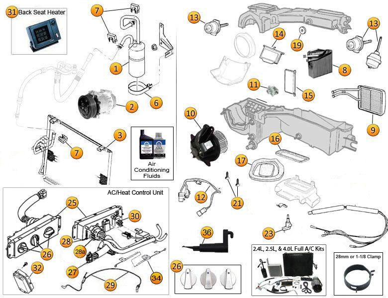 Interactive Diagram Air Conditioning Heating Diagram For Wrangler Tj Jeep Wrangler Diy Jeep Wrangler Tj Wrangler Tj