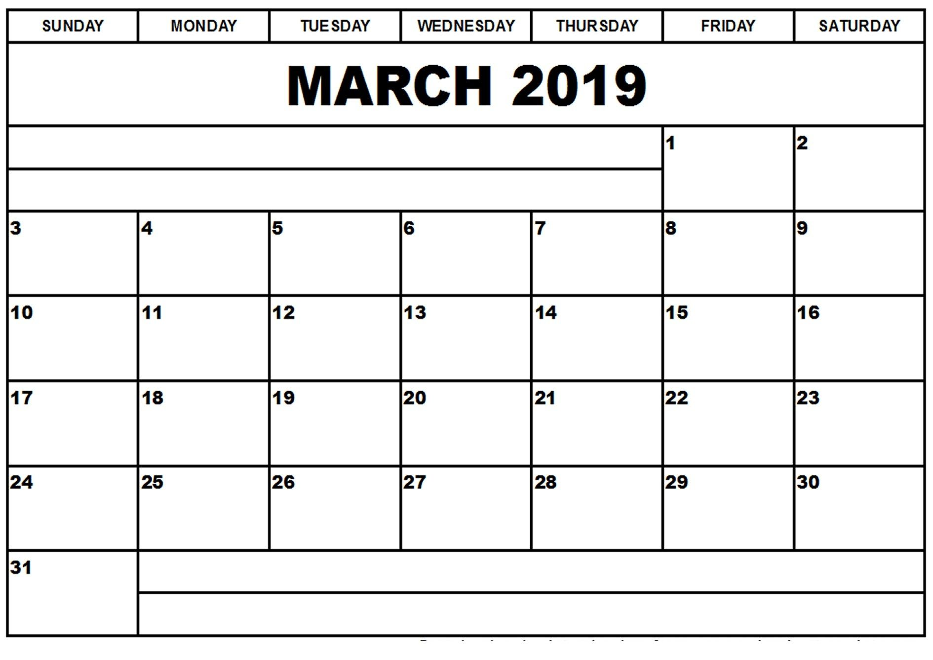Blank March 2019 Calendar Template March March2019