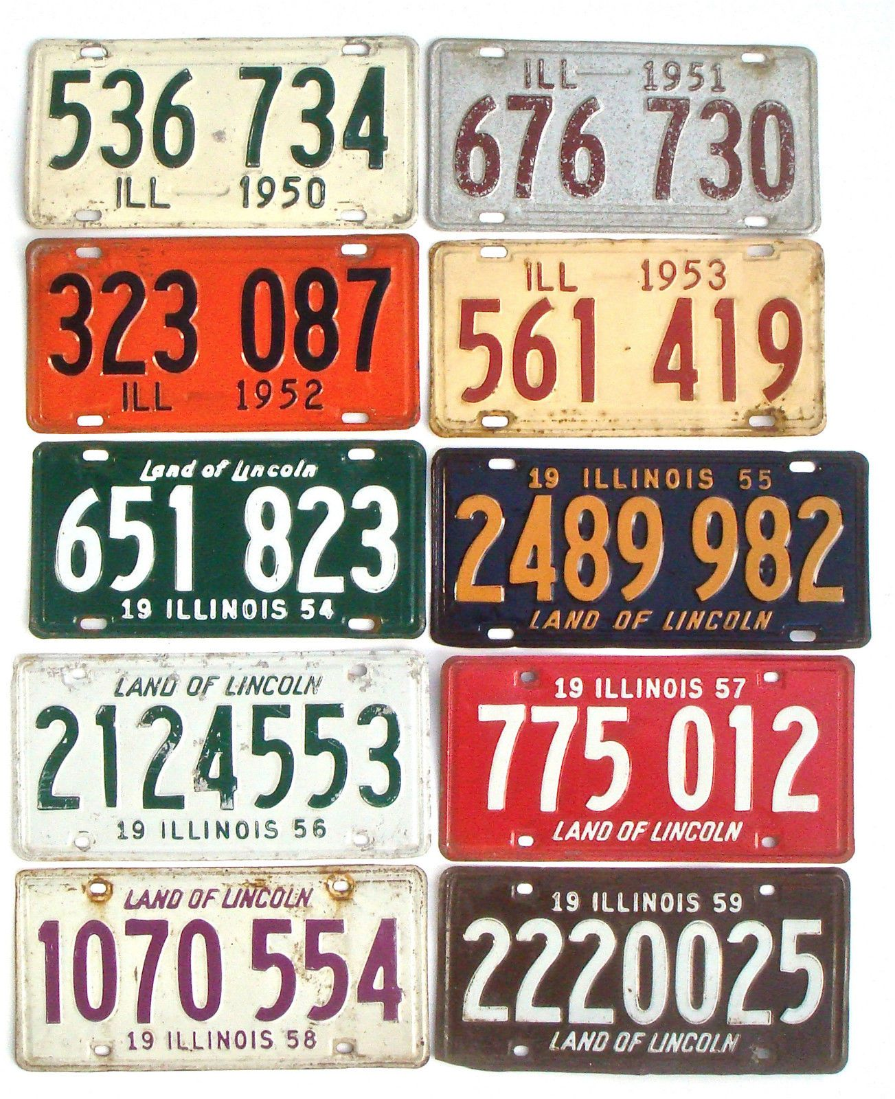 Illinois 1950s Lot of 10 Vintage License Plate Garage Old Car Tags ...