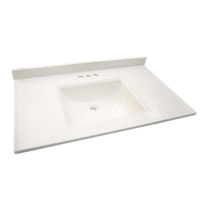 "Design House 557652 Solid White 49"" Engineered Stone Vanity Top with Backsplash and Integrated Sink"