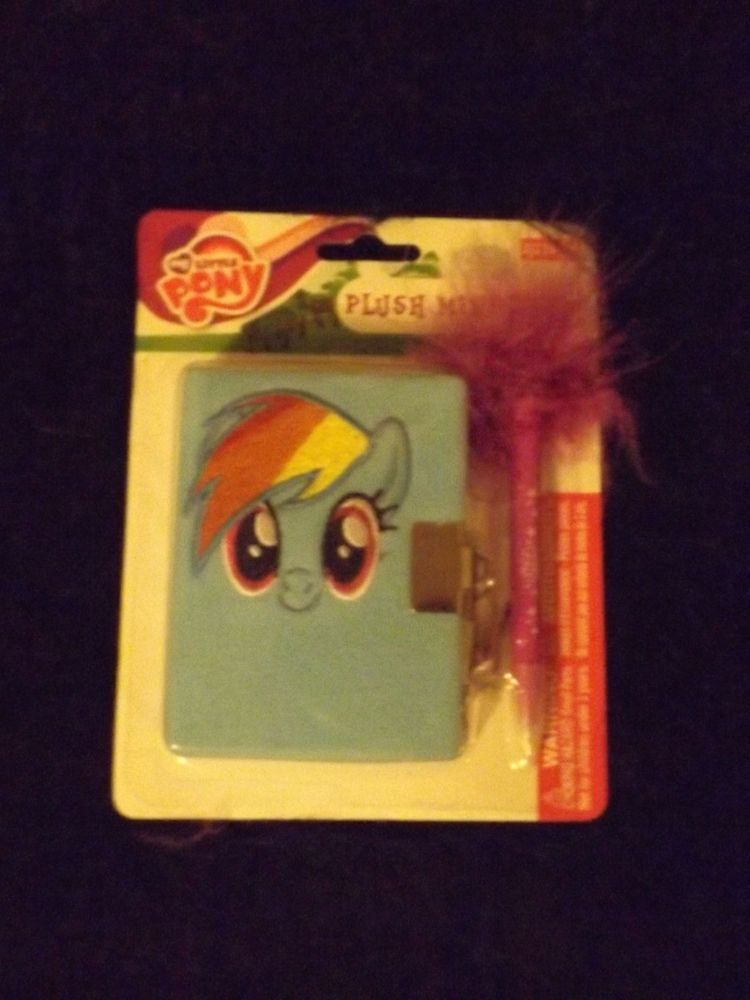 new  My little Pony Rainbow Dash fancy journal mini diary lock keys fuzzy pen  #MylittlePony