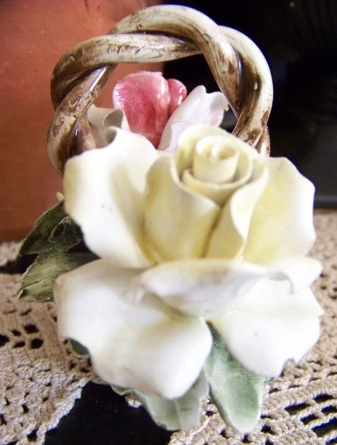 Vintage Nuova Capodimonte Floral Basket Porcelain Made in Italy ...